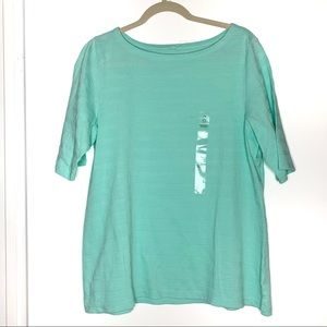 Charter Club sz 0X aqua textured shirt NWT